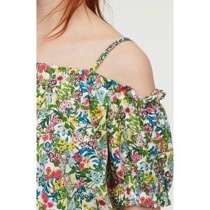 H&M Green Floral Off-The-Shoulder Top XL